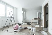 pic of wall painting  - Home renovation in room full of painting tools