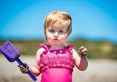 stock photo of shoulder-blade  - little cute girl close - JPG
