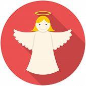 stock photo of christmas angel  - Christmas angel icon  - JPG