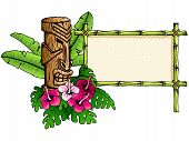 stock photo of tiki  - Colorful Hawaiian tropical banner - JPG