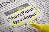 Постер, плакат: Share Point Developer Vacancy in Newspaper