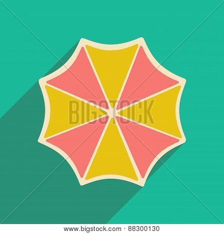 Flat with shadow icon and mobile applacation umbrella