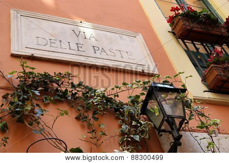 Via Delle Paste - Street Name Sign In Rome, Italy