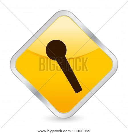Microphone Yellow Square Icon