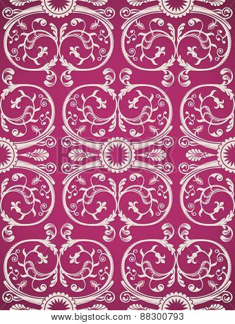 Seamless background pattern art. Beauty vintage heraldic wallpaper pink glamour paper