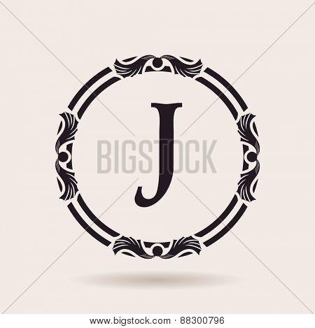 Vector frames design templates. Vintage labels and badges for logos. Alphabet letter J