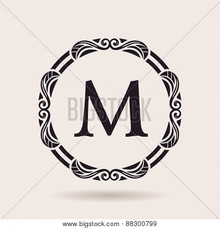 Vector frames design templates. Vintage labels and badges for logos. Alphabet letter M
