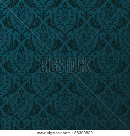 Seamless vector retro wallpaper. Vintage baroque background pattern ornament