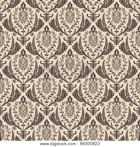 Seamless background vector retro wallpaper. Vintage baroque pattern ornament
