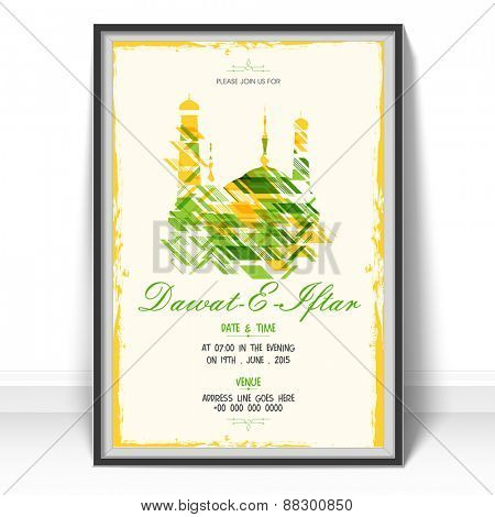 Islamic holy month of prayers Ramadan Kareem celebrations,  Invitation card design for Iftar Party with colorful mosque on beige background.