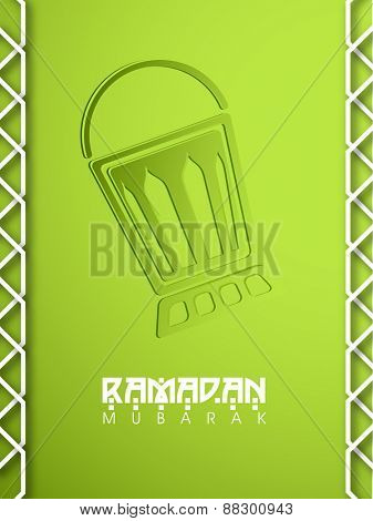 Beautiful greeting card design with lantern on shiny green background for Islamic holy month of prayers, Ramadan Kareem.