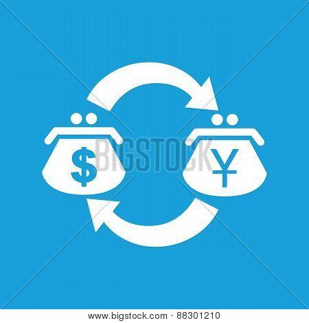 Dollar yen exchange white icon