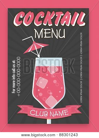 Stylish Cocktail menu card design for club, pub, night parties and beer bar.