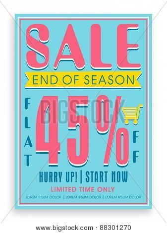 Vintage End of Season Sale poster, banner or flyer design with flat discount offer.