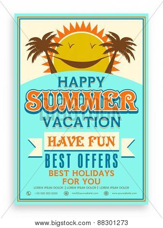 Happy Summer Vacations template, banner or flyer design decorated with palm trees and sun.