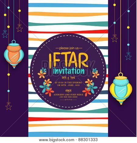 Beautiful invitation card design decorated with Arabic hanging lanterns and stars for holy month of Muslim community, Ramadan Kareem Iftar Party celebration.