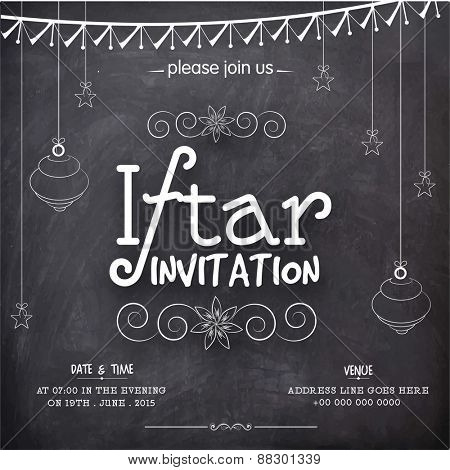 Creative invitation card drawn on chalkboard for holy month of Muslim community, Ramadan Kareem Iftar Party celebration.