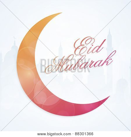 Muslim community festival, Eid Mubarak celebration with colorful shiny moon on mosque silhouette background.