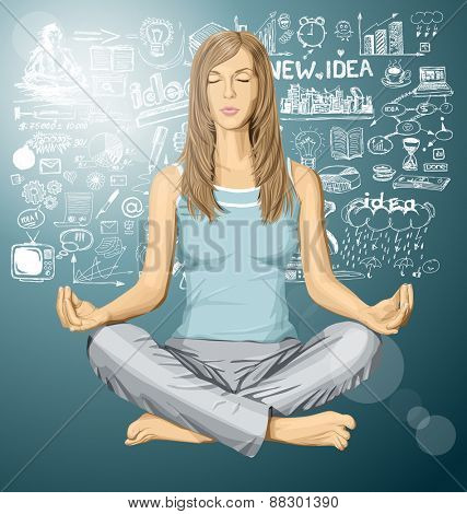 Vector woman meditating in lotus pose braistorming