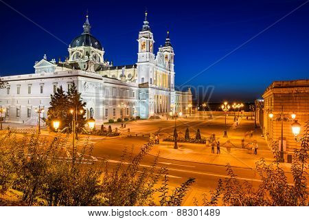 adrid, Spain at La Almudena Cathedral and the Royal Palace.