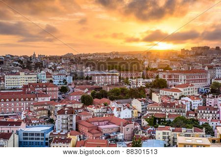 Lisbon, Portugal cityscape during sunset.