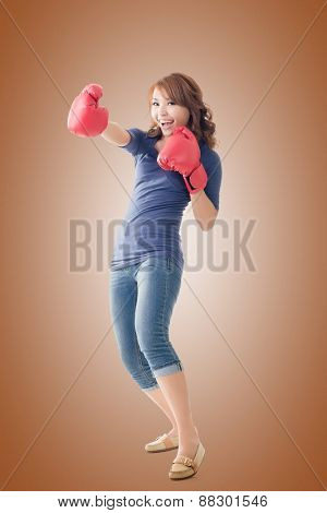 Fighting girl concept, full length portrait of Asian isolated.