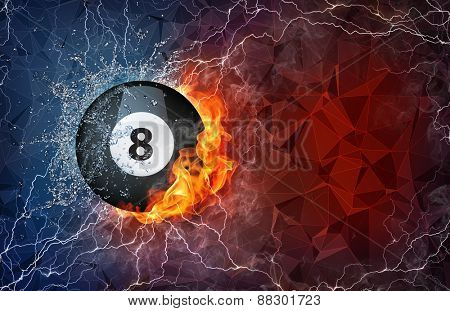 Billiard ball on fire and water with lightening around on abstract polygonal background. Horizontal layout with text space.