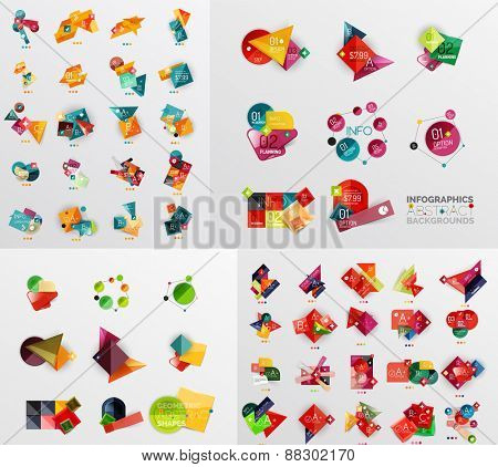 Mega collection of paper graphic banners, labels, infographic layouts, sale badges,