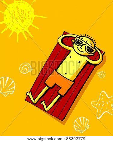 Cheerfull greeting card of summer vacation and summer holiday.