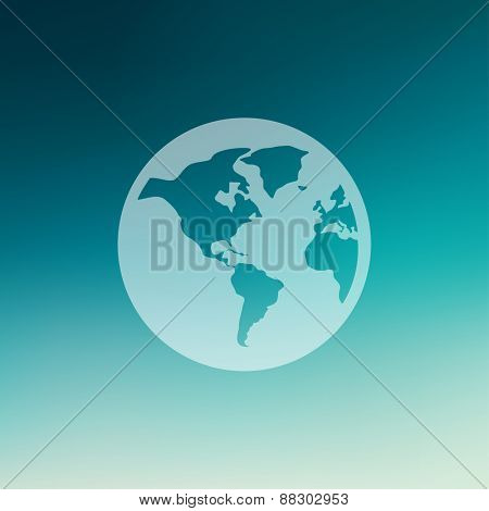 Globe icon in flat style for web and mobile, modern minimalistic flat design. Vector white icon on gradient mesh background