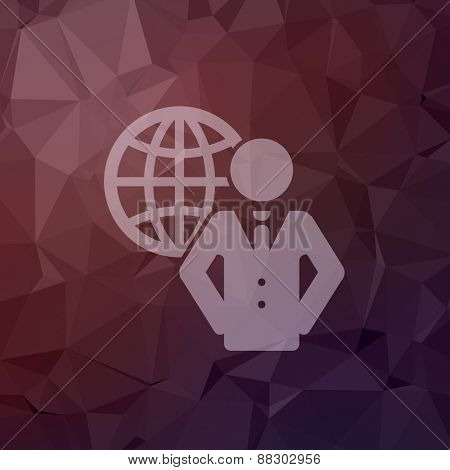 Man with global icon in flat style for web and mobile, modern minimalistic flat design. Vector white icon on abstract polygonal background