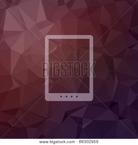 Tablet icon in flat style for web and mobile, modern minimalistic flat design. Vector white icon on abstract polygonal background