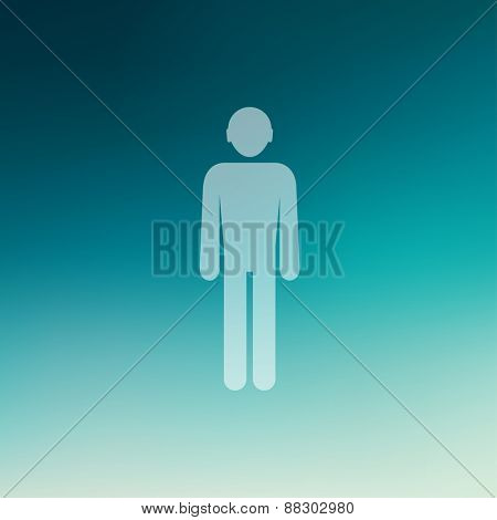 Man icon in flat style for web and mobile, modern minimalistic flat design. Vector white icon on gradient mesh background