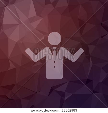 Man raising hand icon in flat style for web and mobile, modern minimalistic flat design. Vector white icon on abstract polygonal background