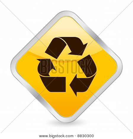 Recycle Symbol Yellow Square Icon