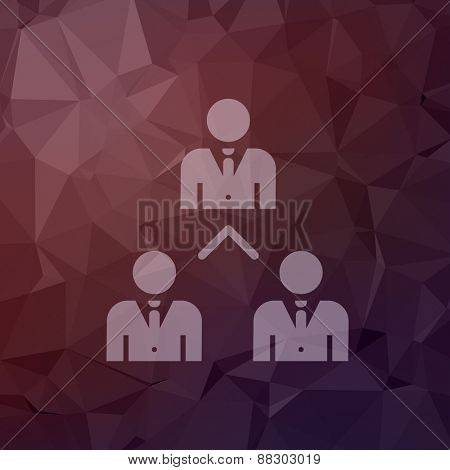 Three business people icon in flat style for web and mobile, modern minimalistic flat design. Vector white icon on abstract polygonal background
