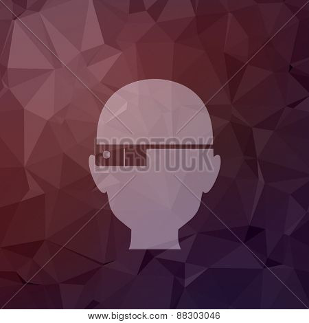 Bald man icon in flat style for web and mobile, modern minimalistic flat design. Vector white icon on abstract polygonal background