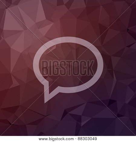Speech bubble icon in flat style for web and mobile, modern minimalistic flat design. Vector white icon on abstract polygonal background