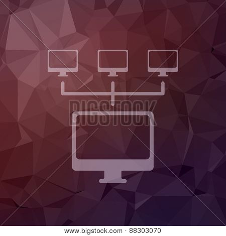 Computer with three cameras icon in flat style for web and mobile, modern minimalistic flat design. Vector white icon on abstract polygonal background