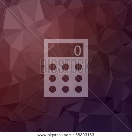Calculator icon in flat style for web and mobile, modern minimalistic flat design. Vector white icon on abstract polygonal background