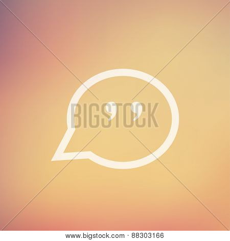Quotation Mark Speech Bubble icon in flat style for web and mobile, modern minimalistic flat design. Vector white icon on gradient mesh background