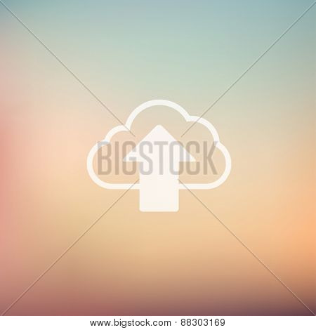 Cloud upload icon in flat style for web and mobile, modern minimalistic flat design. Vector white icon on gradient mesh background