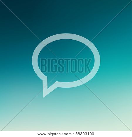 Speech bubble icon in flat style for web and mobile, modern minimalistic flat design. Vector white icon on gradient mesh background