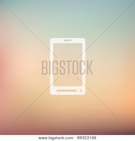 Mobile phone icon in flat style for web and mobile, modern minimalistic flat design. Vector white icon on gradient mesh background