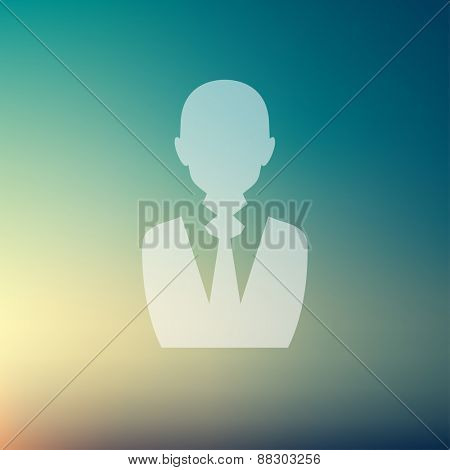 Businessman icon in flat style for web and mobile, modern minimalistic flat design. Vector white icon on gradient mesh background