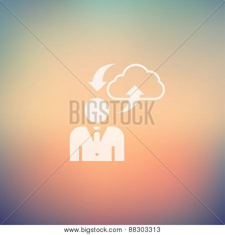Man with cloud upload and download icon in flat style for web and mobile, modern minimalistic flat design. Vector white icon on gradient mesh background