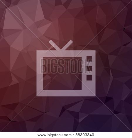 Retro television icon in flat style for web and mobile, modern minimalistic flat design. Vector white icon on abstract polygonal background.