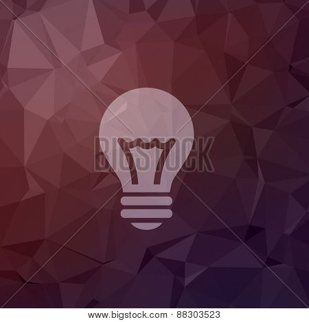Bulb idea icon in flat style for web and mobile, modern minimalistic flat design. Vector white icon on abstract polygonal background