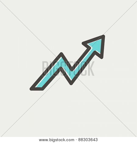 Lightning arrow upward icon thin line for web and mobile, modern minimalistic flat design. Vector icon with dark grey outline and offset colour on light grey background.