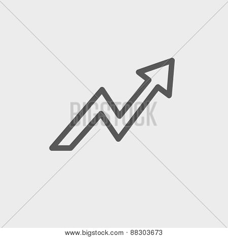 Lightning arrow upward icon thin line for web and mobile, modern minimalistic flat design. Vector dark grey icon on light grey background.